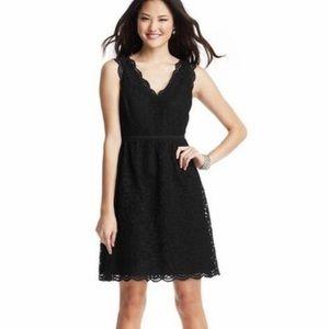LOFT Scalloped Black Lace Sleeveless Dress - Sz 2